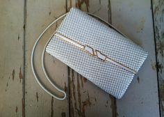 Retro White Metal Mesh Handbag With Long Strap by happydayantiques