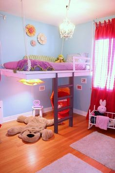 DIY Hanging Loft Bed in a Girl's Bedroom. Have been thinking a lot about a loft bed in Jillian's room so she can have a desk underneath. Hanging Beds, Diy Hanging, Awesome Bedrooms, Cool Rooms, Girls Bedroom, Bedroom Decor, Bedroom Ideas, Bed Ideas, Decor Ideas