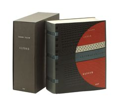 "Bound by Jean de Gonet. An example of one of de Gonet's ""revorim"" bindings, with a gray leather spine and 3 ""open"" cut outs to expose the structure of thick, black sewing thread, & blue textured bands. The cover design features de Gonet's signature blindstamped geometric patterns of circles, squares (both larger & smaller) in black with red, cream, & blue, geometric inlay with ""DE GONET ARTEFACTS"" in blind. Silver gilt titles. Fine in a protective black paper covered chemise & matching…"