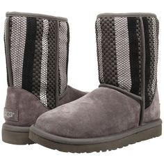 UGG Classic Short Woven Suede (Charcoal Suede) Women's Pull-on Boots ($120) ❤ liked on Polyvore featuring shoes, boots, ankle booties, ankle boots, grey, suede booties, platform ankle boots, grey booties and gray suede boots