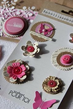 Handmade embellishments using die cuts scrapbooking page layout Vintage Paper Crafts, Papel Vintage, Candy Cards, Scrapbook Embellishments, Card Tutorials, Handmade Flowers, Craft Fairs, Scrapbook Cards, Homemade Cards