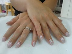 A dry manicure complete with CND Shellac 'Cake Pop' and 'Ice Vapor' nail polish x