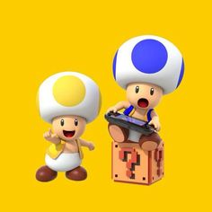"""37 - """"A yellow and blue Toad playing on the Wii U GamePad from Super Mario Maker. Super Mario Brothers, Super Mario Bros, Super Mario Nintendo, Super Smash Bros, Super Mario Party, Play Super Mario, Mario Kart, Mario Y Luigi, Wii U"""