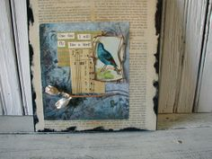 Paper Collage Mixed Media Vintage Bird Card by SweetPeaVintageArt