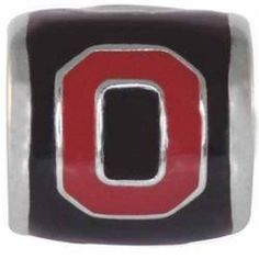 "Teagan Collegiate Collection Bead: Ohio State University Red ""O"" on Black OSU3.  925 Silver & Enamel.  This is a ""Teagan"" bead and it is compatible with Pandora, Biagi, Zable, Brighton, Troll and many other European style bracelets."