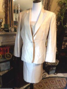 Le Suit 3pc  Gold Metalic  Skirt Suit SZ 12  Rose Pattern Blouse #LeSuit #SkirtSuit