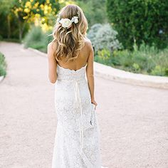 A White Bloom Crown from the Back | Wedding Hairstyle