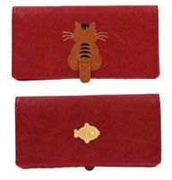 Kitty Cat Moving Tail Applique Red Wallet w/ Fish