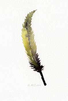 Golden feather art work  from original watercolor by TheClayPlay, $22.00 bathroom