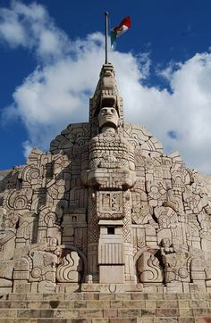 Patria Monument in Paseo de Montejo, White City, Merida, Yucatan, Mexico - the oldest colonial town in the Yucatan. Mayan Ruins, Ancient Ruins, Ancient History, Belize, Places To See, Places To Travel, White City, Ancient Architecture, Machu Picchu