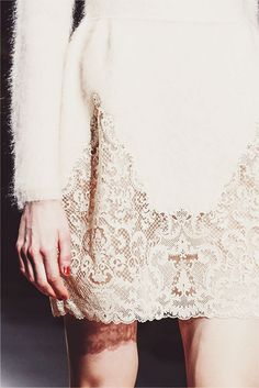 valentino autumn-winter 2013/14 pretty cream lace detail, contrast #fashion