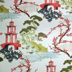 Zen Snow is a pretty Asian chinoiserie toile printed fabric from Regal available and in stock at The Fabric Co. Chinoiserie Fabric, Chinoiserie Chic, Drapery Fabric, Linen Fabric, Linen Cloth, Pleated Curtains, Floral Fabric, Blue Fabric, Fabric Decor