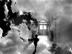 """Uelsmann loves creating """"dreamy"""" photos. Here's another one such picture. This one has a boy running down a hallway, through clouds."""