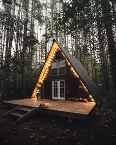 vintage a-frame cabin in the woods