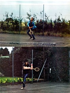 Bob Dylan and George Harrison playing tennis, Isle of Wight, August 29, 1969.