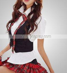 Plaid School Uniform Skirts In Cosplay Costumes
