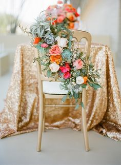 #floral chair decor #sequin tablecloth