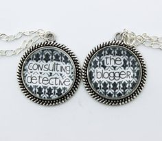 """SHERLOCK BBC """"The Blogger"""" & """" Consulting Detective"""" Friendship Pendants Necklace, Sherlock Holmes,Fan Jewelry, Great Gift on Etsy, $18.19 CAD"""