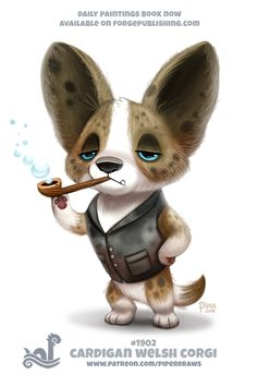 Daily Paint Cardigan Welsh Corgi by Cryptid-Creations on DeviantArt Funny Drawings, Cute Animal Drawings, Kawaii Drawings, Pretty Animals, Cute Animals, Animal Puns, Cardigan Welsh Corgi, Dog Crafts, Cute Creatures