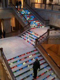 Digital signage staircase - Art institute - (Jitish Kallat) #ooh