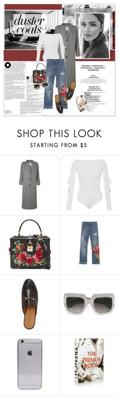 """#dustercoats"" by stylemeup-649 ❤ liked on Polyvore featuring Cushnie Et Ochs, Dolce&Gabbana, Gucci, Assouline Publishing and Keith Brymer Jones"