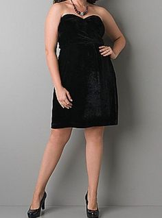 NWT Lane Bryant 20 2x  Black Velvet Dress Holiday Convertible Strapless Sweethrt #LaneBryant #EmpireWaist #LittleBlackDress
