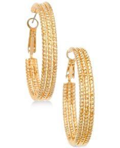Guess Textured Hoop Earrings - Gold