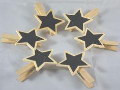 6 Mollette in legno con Stella effetto lavagna. Porsonalizzabile con message per regalo, per decorare l'albero di Natale o come Segnaposto personalizzandolo con il nome. Lungo 8x6 largh. cm. Disponibili da C&C Creations Store