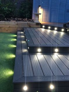 Grey Garden Furniture Decks Ideas For 2019 Back Garden Design, Modern Garden Design, Modern Design, Web Design, Backyard Patio Designs, Backyard Landscaping, Low Deck Designs, Small Backyard Decks, Deck Ideas For Backyard