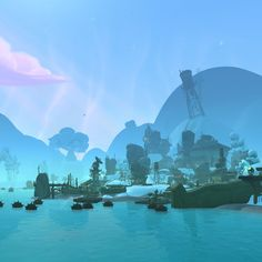 Responsible for the lighting, texture blending, vertex color, water placement, water textures, prop placement, structure placement, set dressings, terrain heights, and level design for the zones shown.    Most textures, assets, skybox art, skybox lighting, and fog were created by various artist.