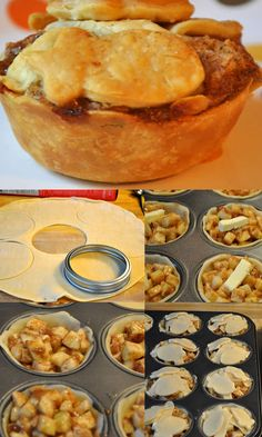 Mini Apple Pies - Mix the apples with: 12 tablespoons of flour 1 1/2c of sugar 4 heaping teaspoons of cinnamon 1/4-1/2 teaspoon of nutmeg (depending on how much you like nutmeg...you could also leave it out) You will also need: 4 tablespoons of chilled butter cut into 24 equal portions. two boxes of pilsbury pie crusts (four chilled NOT frozen crusts) By a Little Bit Funky