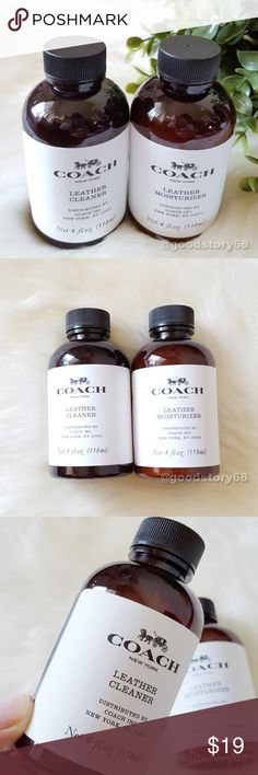 COACH Leather Cleaner & Moisturizer Set of 2 - 4 oz.  Coach Leather Cleaner may be used on the following leathers: Crossgrain, Glovetanned, Metallic Pebble, Natural Calf, Pebble, Polished Pebble, Refined Pebble, Signature Calf, Smooth Calf, Soft Calf, Stamped/Glazed Crocodile, Stamped Snakeskin. Please DO NOT use this product on Sport Calf Leather, Calf Suede or Haircalf. For other leathers not on this list, test in an inconspicuous spot and let dry for at least one hour to ensure no…