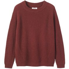 Toast Fisherman Ribbed Jumper ($60) ❤ liked on Polyvore featuring tops, sweaters, shirts, jumpers, auburn, red sweater, long-sleeve crop tops, merino wool sweater, long sleeve sweater and merino wool shirt