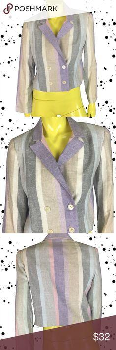 Vintage 80s neon pastel short sleeve criss cross blazer jacket