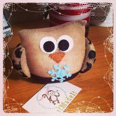 Sock owl Sock Monkeys, Softies, Owl, Teddy Bear, Socks, Crafty, Animals, Animaux, Owls