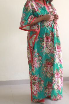 Floral Feeding gown /  DELIVERY gown / Maternity robe for hot moms to be, gift for her, snap buttons by ComfyClothing on Etsy https://www.etsy.com/listing/152898489/floral-feeding-gown-delivery-gown