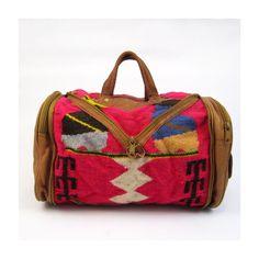 pink southwest wool & leather blanket duffel by OmniaVTG on Etsy
