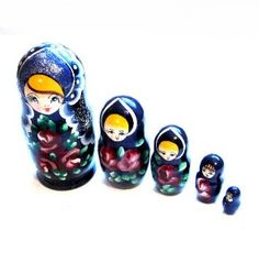 Vintage Nesting Dolls, Tole Painted Russian Wood...