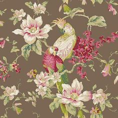 "12""/31cm Wallpaper SAMPLE Magnolias & Birds on Chocolate Brown"