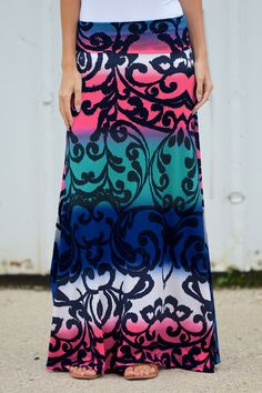 Show Me Those Baby Blues Maxi Skirt from Closet Candy Boutique #fashion #ootd #spring