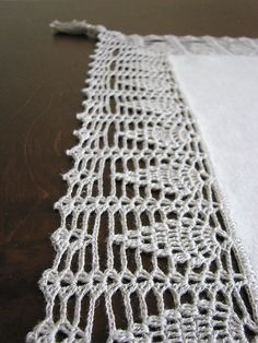 Natural linen tablecloth/teacloth with crocheted by daiktuteka,