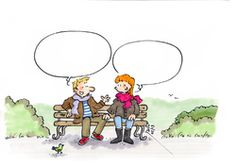 Man and woman on a park bench with conversation bubbles. Dialogue Images, French Cartoons, French Classroom, Interpersonal Relationship, Teaching Activities, Teaching Ideas, Cartoon People, French Lessons, Socialism