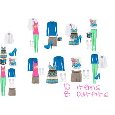 10 items, 8 outfits (not loving the lime pants, I'll go with a different color!)