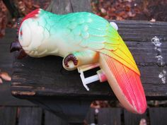 Parrot Squirt Gun, Vintage Plastic Toy, 5 1/2 Inches Long, Complete, Colorful Plastic, Summer Water Gun, 1950's Outdoor Toy by Junkblossoms on Etsy
