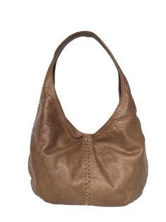 e110f3ae4410 Brown Leather Hobo Bag w Braided Detail