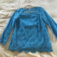 Lilly Pulitzer Eyelet Blouse Royal blue eyelet Lilly Pulitzer blouse with scalloped detailing at the bottom. Some staining on the side, pictured above, not noticeable unless you're looking for it Lilly Pulitzer Tops Blouses