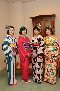 Fantastic patterns and colors on these kimono