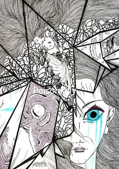 Shattered Heart by Poisonlolly. Traditional dark art illustration created with pen and Chinese ink on paper. © Poisonlolly