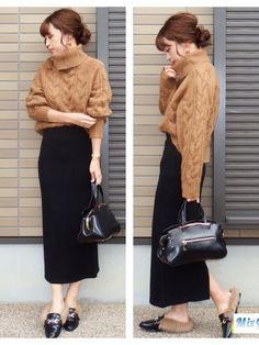 こんばんは お気に入りのGUのニット プチプラなのにめっちゃ可愛い ご覧下さってあり Winter Fashion Outfits, Hijab Fashion, Autumn Winter Fashion, Maxi Pencil Skirt, Pencil Skirt Outfits, Divas, Japan Fashion, Casual Chic, Street Wear