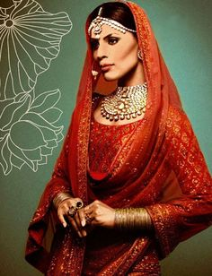 red colour reference with gold.   bridal dress for Sabyasachi Mukherjee